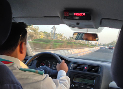 Inside the taxi