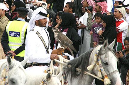 Horseman with falcon