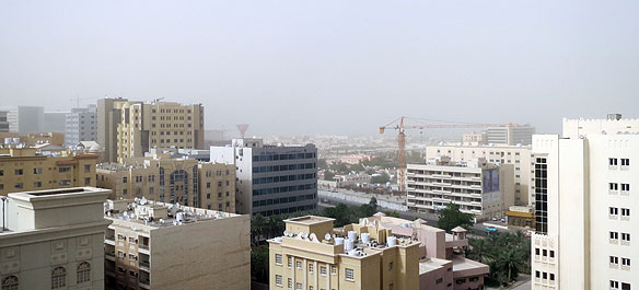 View to West Bay obscured by sand storm