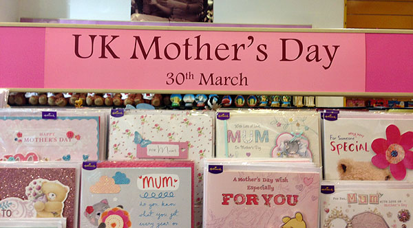 Mother's Day card Rack for UK