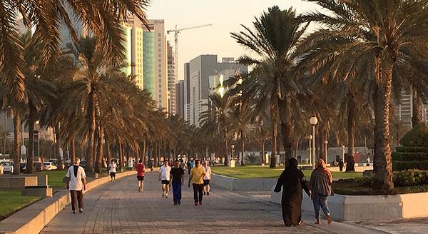 Walkers on the Corniche